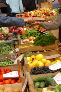 Farmers market with fruits and vegetables